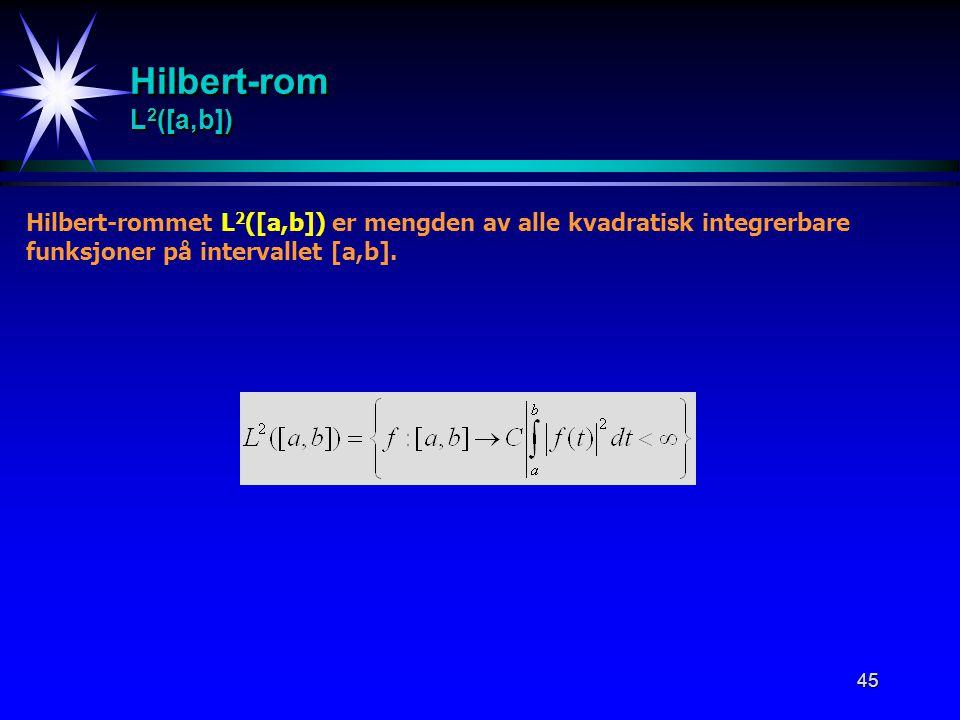 Hilbert-rom L2([a,b]) Hilbert-rommet L2([a,b]) er mengden av alle kvadratisk integrerbare.